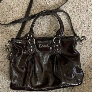Coach chocolate brown patent leather crossbody